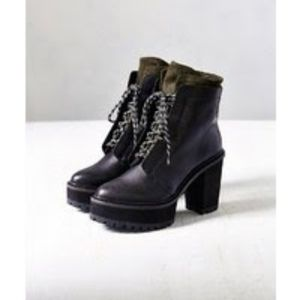 Shelly's London Leather Celee Lace-Up Heeled Boot